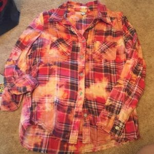 Red/orange gimmicks button down Plaid - Size S
